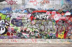City graffiti. The wall with city graffiti stock photography