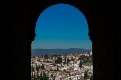 City of Granada Albaicin District with a moorish arch. Granada, Spain Stock Images