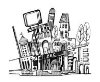 City graphic cartoon illustration. Black and white isolated buildings and town drawing. best in graphic quality geometric style Stock Photography