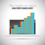 City Graphic on Laptop Stock Photography