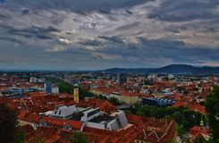 City of graz. Graz captured with clouds before a storm Stock Image