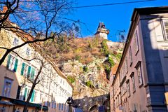 City of Graz street and stairway to Uhrturm view Royalty Free Stock Photo