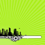 City and green background. Royalty Free Stock Photography