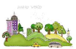 City on the green hills illustration Royalty Free Stock Images