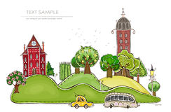 City on the green hills illustration Stock Photography