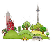 City on the green hills illustration Royalty Free Stock Photo