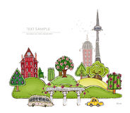 City on the green hills illustration Royalty Free Stock Image