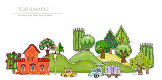 City on the green hills illustration Royalty Free Stock Photos