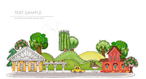 City on the green hills illustration Stock Photo