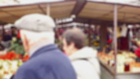 City Green Market Crowd - Blurred stock footage