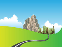 City On Green Meadow. Vector illustration of a city on a green meadow and a road through the meadow with clouds and sky Royalty Free Stock Image