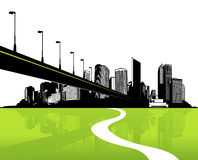 City with green reflection. Royalty Free Stock Photography