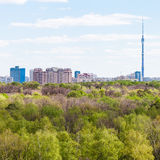City and green woods in spring day Royalty Free Stock Photo