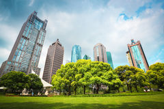 City greenbelt with modern buildings Royalty Free Stock Image