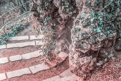 City grotto. Stone staircase leading to the shore of Elbe and old grotto in the center of Hamburg.Selective fokus ,blurred background,toning Royalty Free Stock Photos