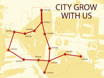 City grow with us. Vector illustration of fictive train stations with grunge train silhouette on background and text  - city grow with us Stock Images