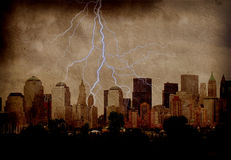 City grunge. Grunge City Background with lightning Royalty Free Stock Photos