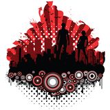 City Grunge Silhouettes. City grunge retro design with silhouettes Royalty Free Stock Photography
