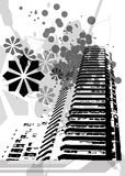 City Grunge Splatters. A scalable vector illustration of an urban city grunge scene in grey scale vector illustration