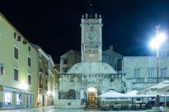 City Guard at night. Zadar. Croatia. Renaissance facade of the City Guard (Gradska straža) in People s square (Narodni trg). Zadar. Croatia Royalty Free Stock Photos