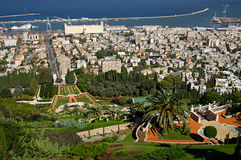 City Haifa with the Bahai Gardens. Israel. Royalty Free Stock Photo