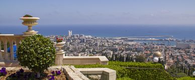 Panoramic View to City of Haifa in Israel Royalty Free Stock Images