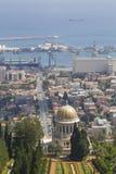 City of Haifa in Israel from the Bahai Garden ,View to harbor. City of Haifa in Israel from the Bahai Garden ,View to Sea and harbor with golden dome of Bahai Stock Photos