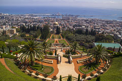 City of Haifa in Israel from the Bahai Garden ,View to Sea and h Royalty Free Stock Photo