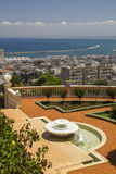 City of Haifa in Israel from the Bahai Garden ,View to Sea and h. Abor Royalty Free Stock Photos
