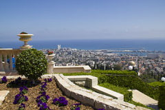 City of Haifa in Israel from the Bahai Garden. View to Sea and habor Royalty Free Stock Images