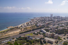City of Haifa in Israel in the morning. View from Stella Maris Monastery Royalty Free Stock Images