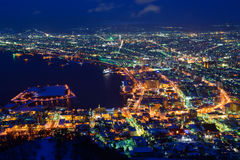 The city of Hakodate in the twilight Royalty Free Stock Image