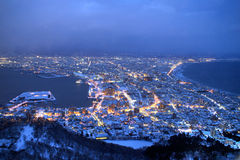 The city of Hakodate in the twilight, panorama Stock Images