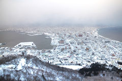 The city of Hakodate in the twilight, panorama. The city of Hakodate in the twilight Royalty Free Stock Photography