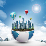 City in half planet with balloons Stock Photo