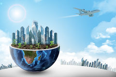 City in half planet Royalty Free Stock Photography