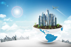 City in half planet with jet Royalty Free Stock Image