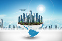 City in half planet with plants Royalty Free Stock Photography