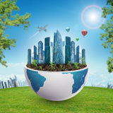 City in half planet with trees Stock Images