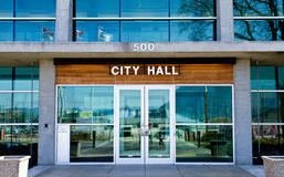 City Hall. Typical front entrance to municipal city hall in Salmon Arm, Canada, local government royalty free stock photos