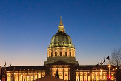 City Hall. The city hall of San Francisco lights up after the sun sets Stock Photo