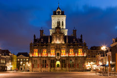 City hall. Night shot of the city hall of Delft. Nice evening sky Royalty Free Stock Photography