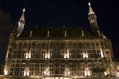 City hall of Aachen (Germany) at night. The famous city hall of Aachen (Germany) photographed at night Stock Photo