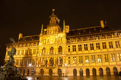 City hall in Antwerp - Belgium - at night Royalty Free Stock Photo
