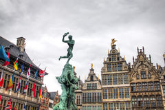 The city hall of Antwerp, Belgium and some typical buildings Royalty Free Stock Image