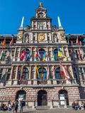 City Hall of Antwerp with people around Royalty Free Stock Image