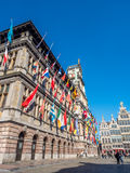 City Hall of Antwerp with people around Stock Images