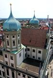 City Hall Augsburg. Panoramic view over the top of the city Hall in Augsburg, Bavaria Royalty Free Stock Photo