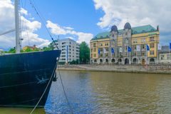 City hall and the Aura river, in Turku Stock Photography