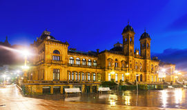 City hall in autumn evening. San Sebastian Royalty Free Stock Image